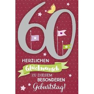 Depesche Geburtstagskarte 60.Geburtstag mit Musik (Rot)