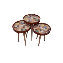 moebel17 Beistelltisch Beistelltisch Würfel 3 er Set 3D mit Glas Rund Bra