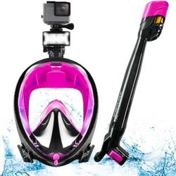 Sportstech Schnorchelmaske SNX650 mit 360° Schnorchel, Easybreath... Pink, S