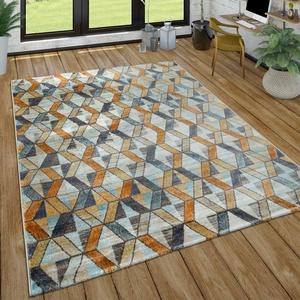 Paco Home Wohnzimmer-Teppich, Kurzflor-Teppich Mit Rauten-Muster, In Gelb, Blau, Grau, Grösse:80x150 cm