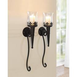 Home-trends24.de Kerzenhalter Wandleuchter Kerzenhalter Kerze Deko Leuchte Wanddeko Metall Schwarz 2er Set