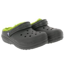 Crocs crocs Classic Lined Clogs gefütterte Kinder Haus-Schuhe Gummi-Schuhe Grau/Grün Clog 29