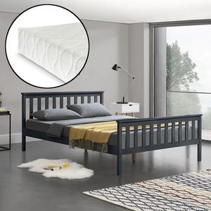 [en.casa] Holzbett 180x200cm Mit Matratze Bett Doppelbett Kiefer Ehebett Grau