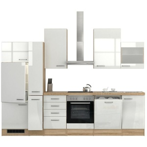 Küchenzeile mit Elektrogeräten Einbauküche Geschirrspüler 310 cm hochglanz weiss