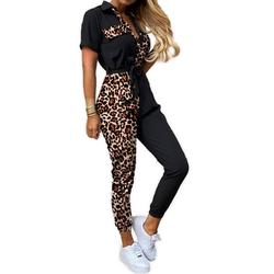 Egomaxx Jumpsuit 3569 Damen Sommer Jogginganzug Leoparden Muster Jumpsuit Fashion Overall 46