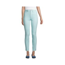 Slim Fit Öko Jeans High Waist, Damen, Größe: L Normal, Blau, Elasthan, by Lands' End, Hell Glänzend Blau - L - Hell Glänzend Blau