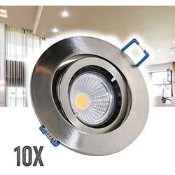 VBLED LED Einbaustrahler 10er Set VBLED Einbaustrahler Aluminium gebürstet rund mit 3,5W COB LED Leuchtmittel