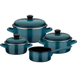 GSW Topf-Set Blue Shadow, Emaille, (Set, 7 tlg.), Induktion blau Topfsets Töpfe Haushaltswaren