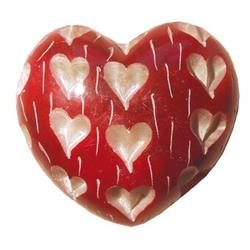 Herz Heart rot 6 x 6 cm Speckstein