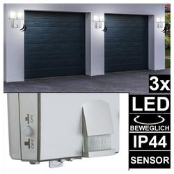 etc-shop LED Wandstrahler, 3er Set LED Wand Strahler Außen Leuchten Bewegungsmelder Batterie Garten Hof Lampen Spots beweglich