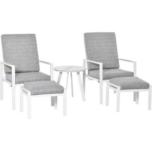 5-teiliges Gartenmöbel Set Balkonmöbel verstellbar Aluminium Grau+Weiß