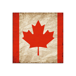 Artland Glasbild Schöne kanadische Fahne im Vintage-Look, Zeichen (1 Stück) 40 cm x 40 cm x 1,1 cm