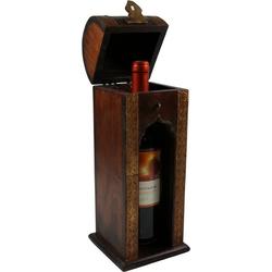 Guru-Shop Aufbewahrungsdose Weinflaschen Holz Box mit Messingverzierungen,..
