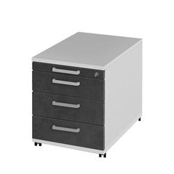Schreibtischcontainer in Weiß Grau abschließbar