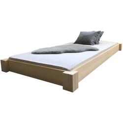 LIEGEWERK Bett Bodentiefes Bett Massivholzbett Holz natur Designbett, hergestellt in BRD in 90 100 120 140 160 180 200 x 200cm, 140x200