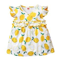 LAPA A-Linien-Kleid Neugeborene Baby Mädchen Kleid Mit Zitronendruck Sommer Kleid 6-9Monat