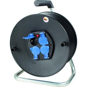 as - Schwabe Sicherheits-Leertrommel ohne Kabel – Kabeltrommel für max. 25 m Leitung – 4 Einbau-Steckdosen mit Schutzklappen – IP20 Innenbereich – Made in Germany – Schwarz I 10205