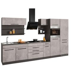 HELD MÖBEL Küchenzeile Tulsa, ohne E-Geräte, Breite 330 cm, schwarze Metallgriffe, hochwertige MDF Fronten grau