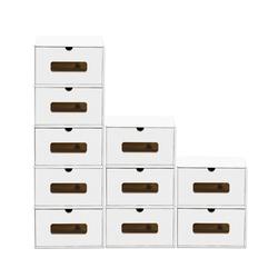 BigDean Schuhbox 10er Set weiß mit Sichtfenster & Schublade aus Pappe Schuhkasten Schuhkarton Aufbewahrung stapelbar
