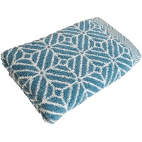 framsohn frottier Duschtuch Design Rauten (1-St), mit mehrfarbig gewebtem Saum blau