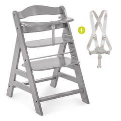 Hauck Hochstuhl Alpha Plus - Grey (2 Stück), Mitwachsender Holz Treppenhochstuhl mit Schutzbügel und Gurt