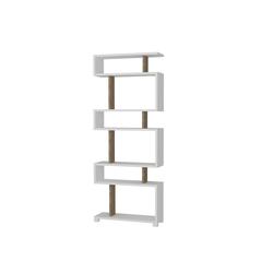 moebel17 Standregal Bücherregal Blok Weiß Walnuss, mit ausgefallenem Design