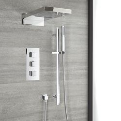 Thermostat Duschsystem mit Regen/Wasserfall-Duschkopf & Brausestangenset in Chrom - Kubix
