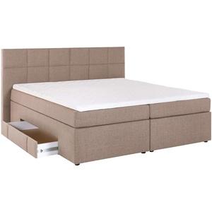 Furniture for Friends Möbelfreude® Bea Boxspringbett 140 x 200 cm Beige/Grau H3 | 7-Zonen-Taschenfederkern Matratze + Visco-Topper | mit Bettkasten für Stauraum