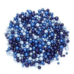 Glaswachsperlen, Blautöne, 4 - 8 mm Ø, 100 g