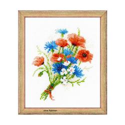 """Riolis Kreuzstich-Set """"Blumenstrauß mit Kornblumen"""", Zählmuster"""