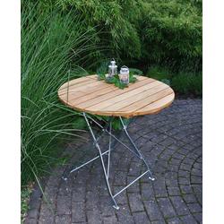 Klapptisch mit verzinktem Flachstahlgestell und Belattung aus Robinienholz, Maße: B/H/T ca. 77/72/77 cm