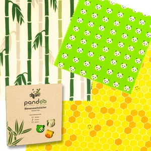 pandoo Bienenwachstücher Starter-Set aus Bio Baumwolle und Bienen-Wachs   plastikfrei, natürlich und nachhaltig   Zerowaste Alternative zu Frischhaltefolie, Alufolie und Frischhaltebox aus Plastik