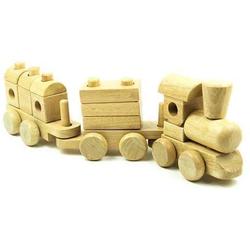 LeNoSa Steckspielzeug Lokomotive Natur • Holz Stapelzug 18tlg.• Eisenbahn 46 cm mit 2 Waggons, (18-tlg)