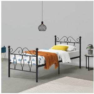 en.casa Metallbett, Apolda Gästebett Jugendbett mit Lattenrost schwarz in verschiedenen Größen 94.5 cm x 208.5 cm x 95.5 cm