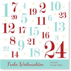 Lustige Weihnachtskarten (10 Karten) selbst gestalten, Adventskalender - Türkis