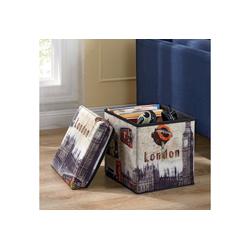 en.casa Sitzhocker, Aufbewahrungsbox mit dekorativem Motiv London 30x30x30cm natur 30 cm x 30 cm x 30 cm