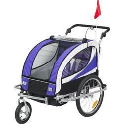 HOMCOM 2 in 1 Kinderanhänger für 2 Kinder lila, weiß, schwarz 106 x 90 x 105 cm (LxBxH)   Fahrradanhänger Kinderjogger Kinderwagen Anhänger