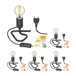 Tischlampe TRIN schwarz mit Stecker und Schalter inkl. E27 Lampe 800lm warmweiß, A++, 3-Stufen Dimmen ohne Dimmer mit Lichtschalter, 5 Stk.