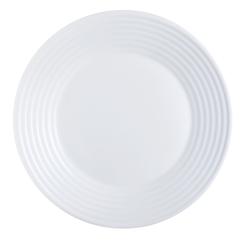 Arcoroc Speiseteller Stairo Uni, Teller flach 25cm Opalglas weiß 6 Stück Ø 25 cm x 2.3 cm