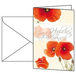 10 SIGEL Glückwunschkarten Red Poppies DIN A6