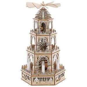 Weihnachtspyramide, mit LED Beleuchtung und beweglichen Figuren, Höhe ca. 48 cm beige