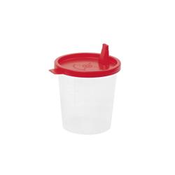 Meditrade Urinbecher, 125 ml, Laborbecher mit Außguss und Skalierung, roter Deckel, 1 Karton = 500 Stück