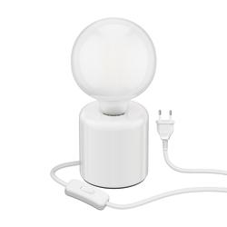 Tischlampe TIPO Porzellan rund weiß Kugel inkl. E27 G125 Lampe matt 6W=59W warmweiß 780lm