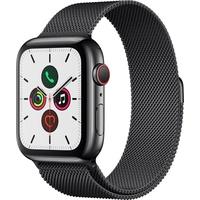 Apple Watch Series 5 GPS + Cellular 44 mm Edelstahlgehäuse space schwarz, Milanaise Armband space schwarz