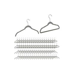 relaxdays Kleiderbügel 80 x Samt Kleiderbügel grau