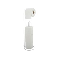 MSV Toiletten-Ersatzrollenhalter AMY, Stahl, kombinierter Toilettenpapierhalter und Ersatzrollenhalter - für bis zu 3 Ersatzrollen, edle matt-Optik weiß