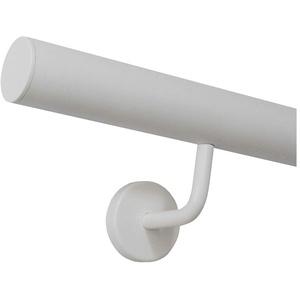Handlauf weiß pulverbeschichtet Edelstahl innen außen Wetterfest Geländer/Länge: 210 cm mit 3 Halter Enden mit gerade Kappe