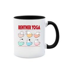 Shirtracer Tasse Rentner Yoga Katzen in Tassen - Tasse Berufe - Tasse zweifarbig - Tassen, katzen-tasse