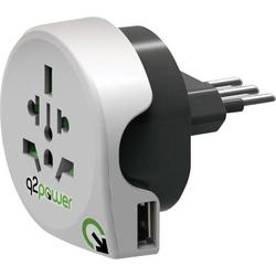 Q2 Power 1.100190 Reiseadapter Welt nach Italien mit USB