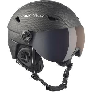 Black Crevice Erwachsene Skihelm Silvretta, mit Visier, Carbon schwarz, XL